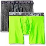 "Under Armour Men's Original Series 6"" Boxerjock, Carbon Heather/Hyper Green, Medium, Pack of 2"