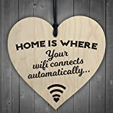 home is where the air force sign - Home Is Where Wifi Is Novelty Wooden Hanging Heart Plaque House Funny Wall Sign