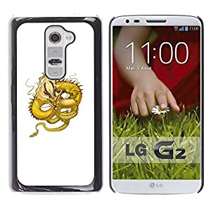 Shell-Star Arte & diseño plástico duro Fundas Cover Cubre Hard Case Cover para LG G2 / D800 / D802 / D802TA / D803 / VS980 / LS980 ( Yellow Dragon Flying Serpent Moustache )