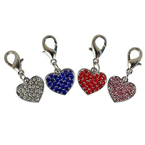BOSUN(TM)Rhinestone Heart Shape Bling Crystal Dog Pendant Charm DIY Zinc Alloy Pet Accessories Mixed 4 Colors