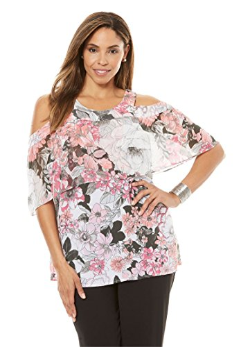Jessica Floral Blouse - Jessica London Women's Plus Size Cold Shoulder Overlay Blouse Sweet Floral