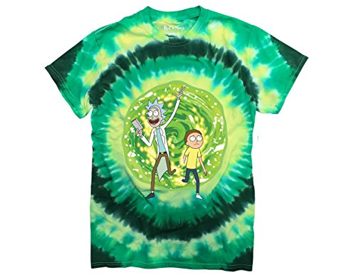 Ripple Junction Rick and Morty Large Portal Adult T-Shirt XL Green Tye Dye