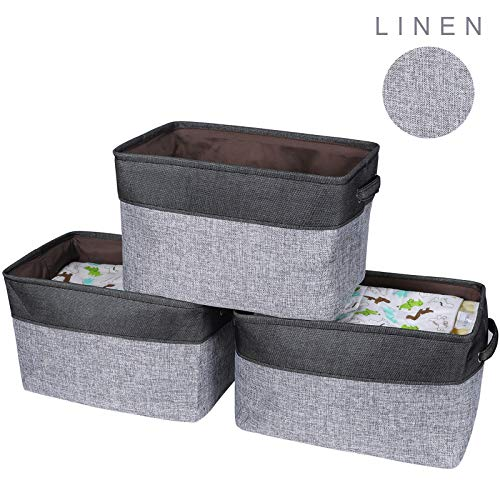 HOKEMP Foldable Storage Bins - 15 x 10.6 x 9.4 in Fabric Storage Large Basket Set Collapsible Organizer Bin with Handles for Shelevs, Closet, Toys, Towels, Laundry - 3 Pcs, Black
