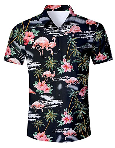 Uideazone Men Short Sleeve Shirt Button Front Floral Print Beach Hawaii ()