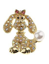 Homyl Lovely Dog Little Puppy Brooches Crystal Women Girl Fashion Jewelry Ornament