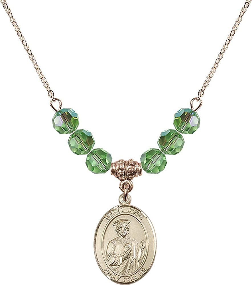 Green Peridot August Birthstone 18-Inch Hamilton Gold Plated Necklace with 6mm Peridot Birthstone Beads and Saint Jude Charm