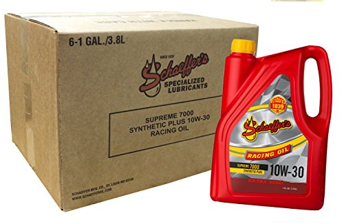 Schaeffer Manufacturing 0709 006 Supreme 7000 Synthetic Plus Racing Oil  10W 30  1 Gal  Pack Of 6