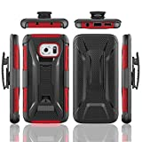 Galaxy S7 Edge Case,PT Hard Shell [Heavy Duty][Dual Layer][Holster Case][Belt Clip]Armor Hybrid Combo Case Cover With Belt Swivel Clip & Kickstand For Samsung Galaxy S7 Edge (Red)