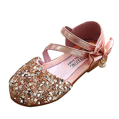 Rubber Stitch Sole (Kids Baby Girls Sequin Closed Toe Sandals Non-Slip Soft Rubber Sole Infant Toddler Casual Dance Single Shoes Pink)