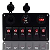 DCFlat 5 Pin 4 Gang/6 Gang Car Marine Boat Circuit RV LED Toggle Rocker Switch Panel Breaker Voltmeter with Fuse Double USB for RV Car Boat Red/Green Light