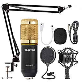 ZINGYOU Condenser Microphone Bundle, BM-800 Mic Kit with Adjustable Mic Suspension Scissor Arm, Metal Shock Mount and…
