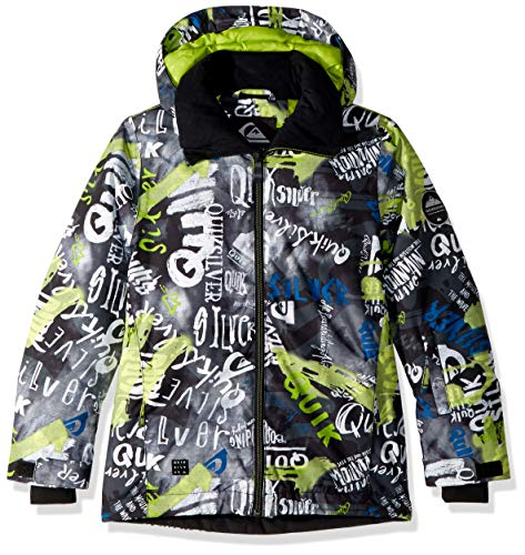 Quiksilver Boys' Big Mission Printed Youth 10K Snow Jacket, Black Construction, ()