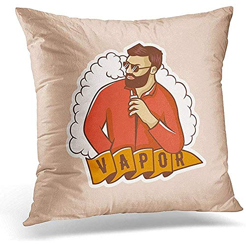 Johnnie Decorative Pillow Cover White Addiction Vapor Man with Vape and Cloud Electronic Cigarette Stickers Emblem Alternative Throw Pillow Case Square Home Decor Pillowcase 18x18 Inches (White Cloud Electronic Cigarette)