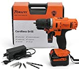 TOKUYI 20V MAX 1500mAh Lithium-Ion Cordless Drill Driver Kit, 3/8 Keyless Chuck,2-Speed, LED Light with Advance Battery Cell and Charger