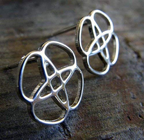Celtic knot stud earrings. Polished sterling silver Irish post jewelry. Handmade in the USA. ()