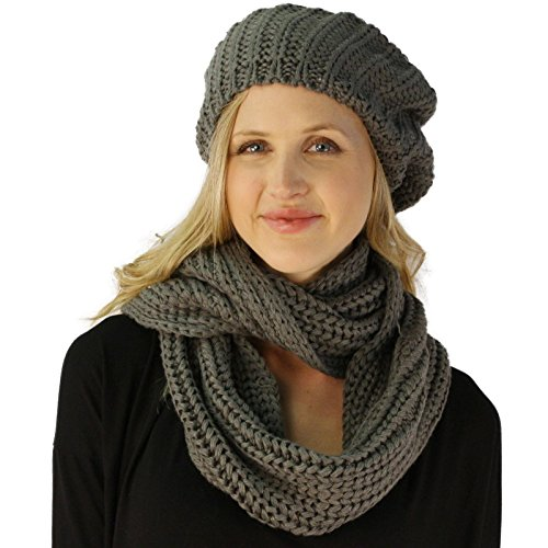 Ladies 2pc Winter Knit Beret Tam Beaniel Hat Long Infinity Scarf Solid Set Gray