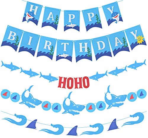 Shark Birthday Party Decorations, Shark Party Supplies, Ocean Party Supplies, Shark Happy Birthday Banner, Shark Banner, Shark Birthday Decor, Under The Sea Ocean Theme for Kids]()