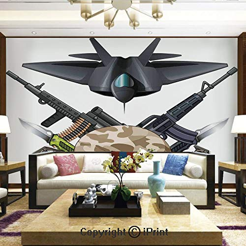 Lionpapa_mural Removable Wall Mural Ideal to Decorate Your Living Room,Weapons and Jet Figure Helmet Rifles Knifes Bombs Bullets Ammunition Print,Home Decor - 66x96 inches ()
