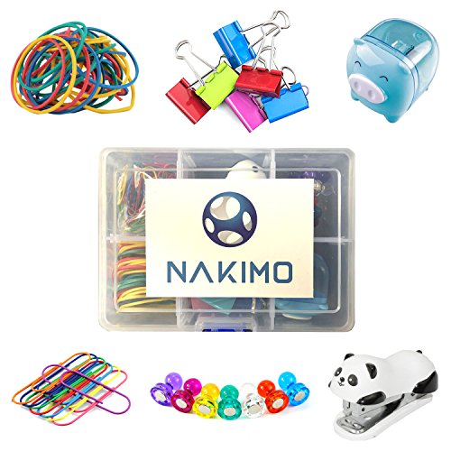 Nakimo Office Supplies Set Paper Clips Binder Clips Rubber Bands Pencil Sharpener Stapler Magnetic Tacks Assorted Colored