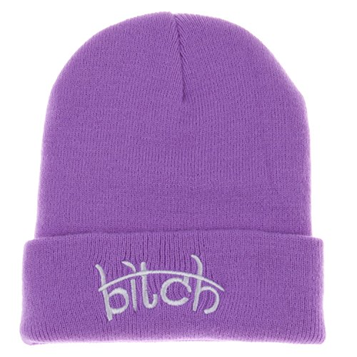 Soyagift Bitch Winter Knit Beanie Hat Men Women Winter Cap Skully Letter Beanie Sg281 (Purple)