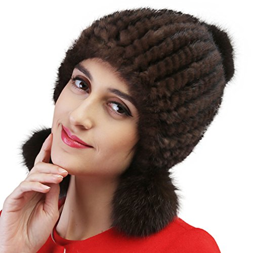 Mandy's Women's Autumn Winter Warm Mink Fur Hats New Dress Show Cap Flexible (One Size, 004) by Mandy's