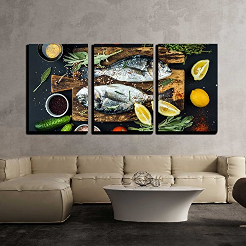 Sea Salt 3 Piece (wall26 - 3 Piece Canvas Wall Art - Fresh Uncooked Dorado or Sea Bream Fish with Lemon, Herbs, Oil - Modern Home Decor Stretched and Framed Ready to Hang - 16