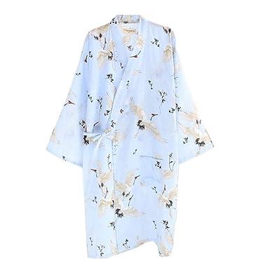 Japanese Women s Robe Dressing Gown Kimono Pajamas Nightgown Crane C ... b05dda3a80