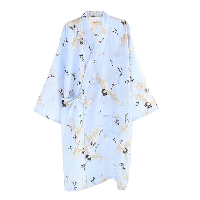 Fancy Pumpkin Bata de Dormir Japonesa para Mujer Kimono Pajamas Camisón [Crane C, Talla L]: Amazon.es: Ropa y accesorios