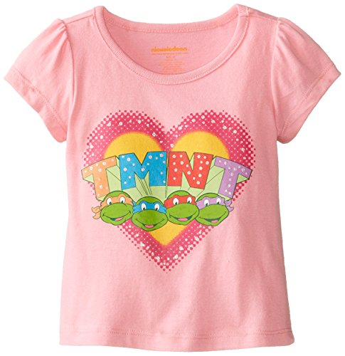 Nickelodeon Little Girls' Ninja Turtle Heart Short Sleeve T-Shirt, Pink, 4T (Teenage Mutant Ninja Turtles Girls)