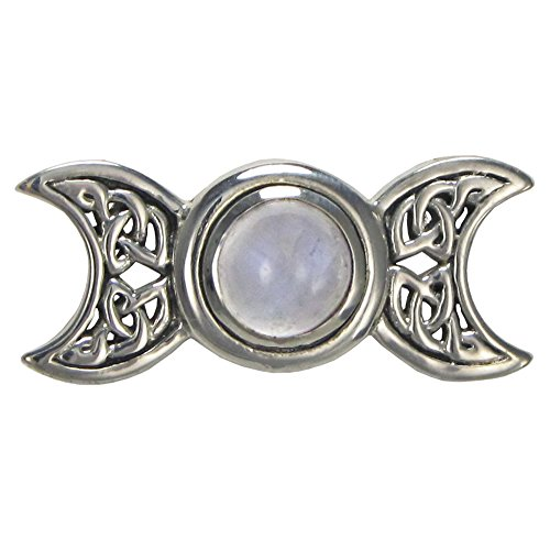 Sterling Silver Celtic Knot Triple Moon Goddess Pendant with Natural Rainbow Moonstone