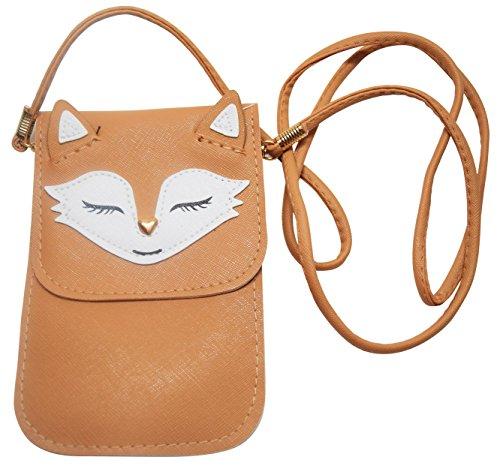 Leather Handbag Avenue (Avenue 9 Fox Mini Cross Body Bag w/ Detachable Strap Phone Synthetic Leather Small Purse (Brown))