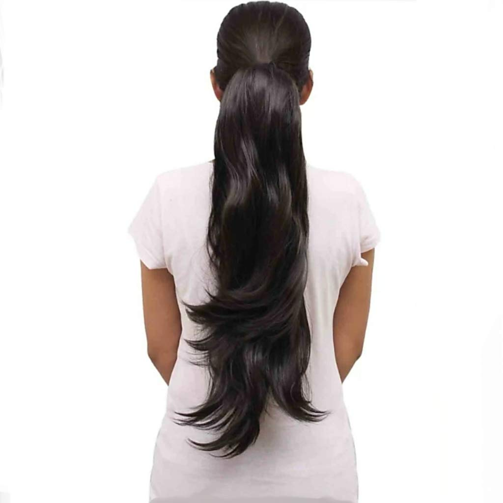 2 In 1 Hair Styles Clutch Hair Extension 26inch Step Cutting Out Curl Pony Tail Feather Laser Clutch Claw Hairpiece Hair Volumizer Synthetic Fancy Hair Choti Wig Out Curl Layered Real Looka