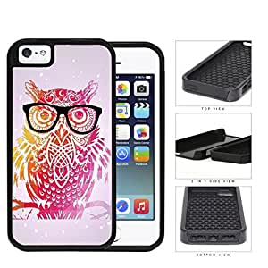 Cute Hipster Colorful Owl with Geometric Triangle Background and Eyeglasses iPhone 5 5s 2-piece Dual Layer High Impact Black Silicone Cover