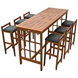 HOMCOM 7 Piece Acacia Wood Iconic Prairie School Style Bar Height Dining Set – Table/ 6 Stools For Sale