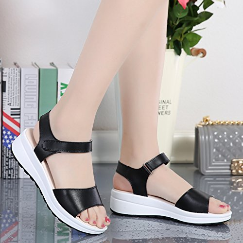 Platform Thick And Casual Ladies Toe Sandals Sandals Leather With Sandals New The Summer Lin Black Xing Cake Open Shoes wY0Af6qHfx
