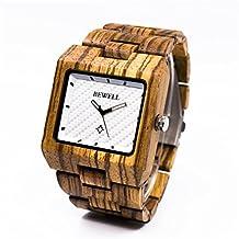 BEWELL Zebra Wood Watch with Japanese Quartz Movement Analog Display Vintage Men's Bracelet Wristwatch