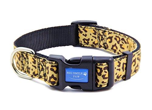 BIG SMILE PAW Nylon Dog Collar Adjustable,Leopard Print Dog Collar (M)