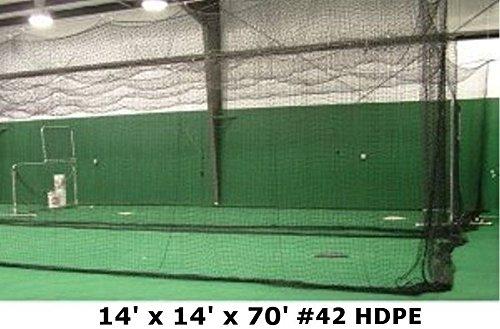 Jones-Sports Heavy Duty 14 x 14 x 70 #42(60 ply) Batting Cage Net with Door for Softball, Baseball by Jones Sports
