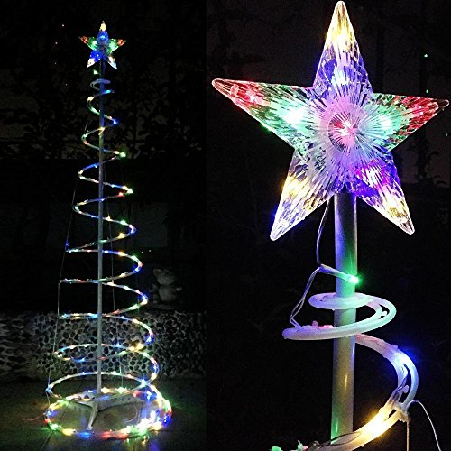 6ft Waterproof Multi Color Red Yellow Green Blue LED Spiral X-mas Noel Santa Tree Star Light For Indoor & Outdoor Decoration