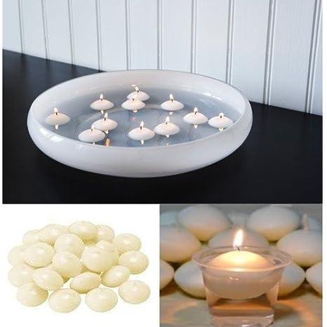 FAST WORLD SHOPPING Juego 24 Velas de cera velas flotantes redondos color blanco luz velas: Amazon.es: Hogar