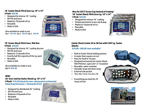 """3X Lg. Zero°F Cooler Freeze Packs 10""""x14"""" - No More Ice! Cooler Shock Replaces Ice and is Reusable - Easy Fill - You Add Water and Save! - 12lbs Total"""