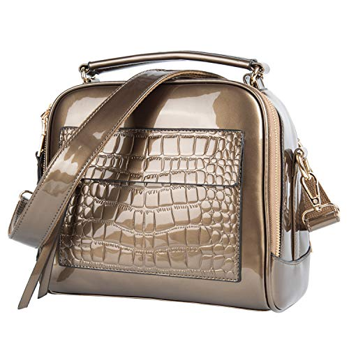 Womens Purses and handbags Light Brown Patent leather Totes Shoulder Bags Tote Bag -