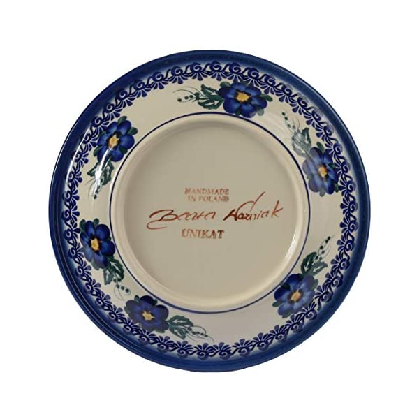 Traditional Polish Pottery, Handcrafted Ceramic Soup or Pasta Plate 22cm, Boleslawiec Style Pattern, T.201.Pansy