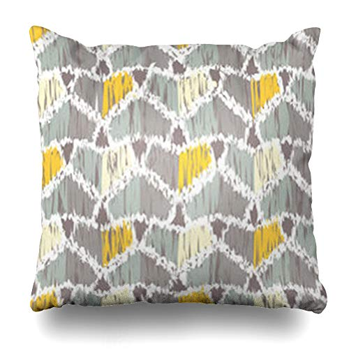 GisRuRu Throw Pillow Covers Creative Scarf Ethnic Boho Ikat Abstract Pattern Geometry Border Bali Blouse Bohemian Canvas Dress Home Decor Sofa Pillowcase Square Size 20 x 20 Inches Cushion Cases