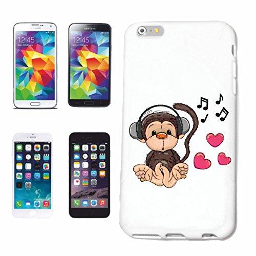 caja del teléfono iPhone 7+ Plus MONO EN ESCUCHA EL CORAZÓN DEL AMOR AMOR DEL MONO Chimpancé del GORILA posterior de la plata APE CHARLY MONKEY KING KONG Caso duro de la cubierta Teléfono Cubiertas