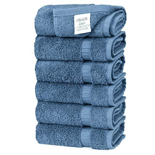 Chakir Turkish Linens Turkish Cotton Luxury Hotel & Spa Bath Towel, Hand Towel – Set of 6, Wedgewood