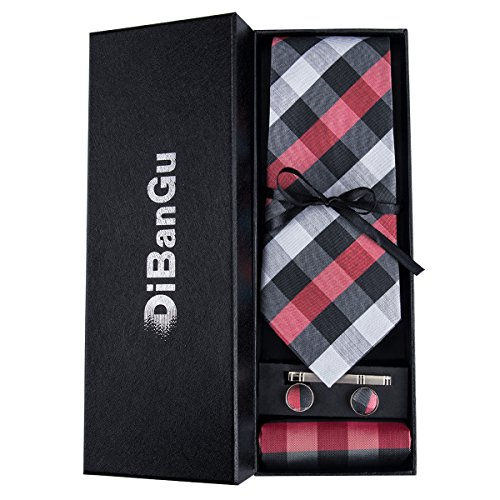 Red Grey Plaid Tie Men's Necktie Handkerchief Cufflinks Set Formal Business