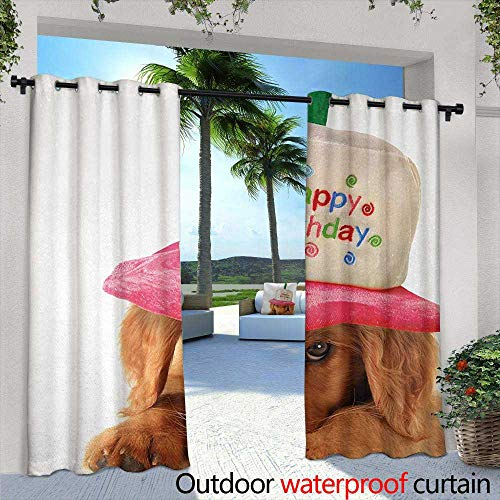 (Tim1Beve Sliding Door Curtain Kids Birthday Cute Puppy Wearing a Party Cone Shaped Hat with Candlestick Party Greetings Waterproof Patio Door Panel 72