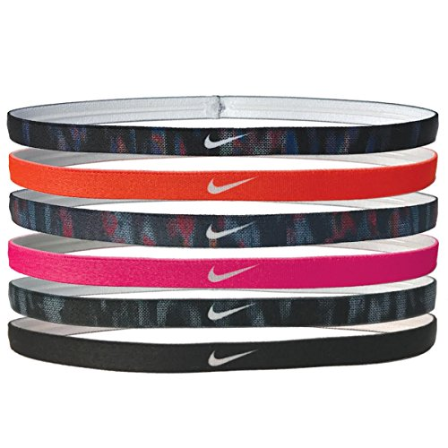 Price comparison product image Nike Printed Headbands Assorted 6pk Black/Hyper Crimson/Binary Blue/Racer Pink