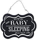 "Adams & Co. 9"" x 6"" Hanging Wood Decorative Sign ""Shhh Baby Sleeping"""